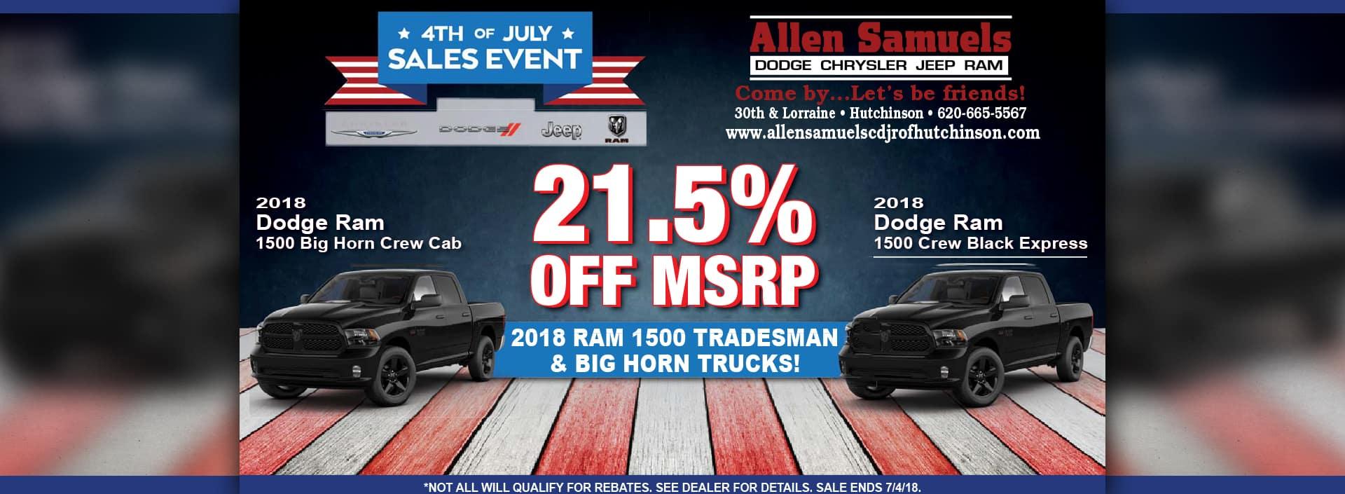 July 4th Sale at Allen Samuels CDJR Hutchinson