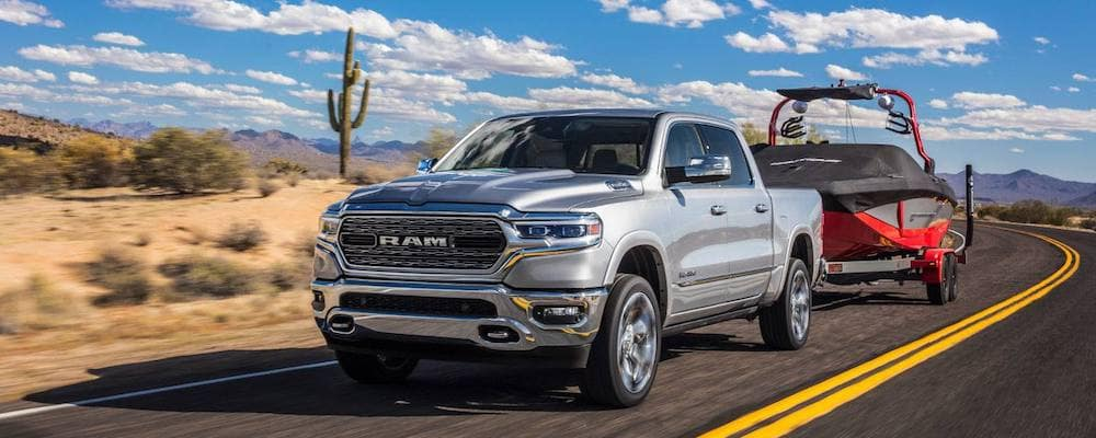 2019 Ram 1500 Towing a Boat in the Desert
