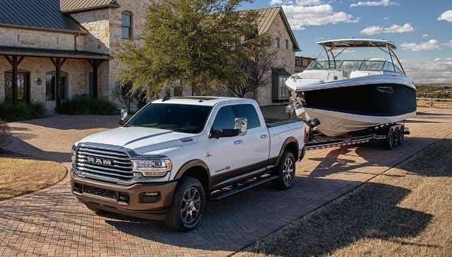 2019 Ram 2500 with boat on tow hitch