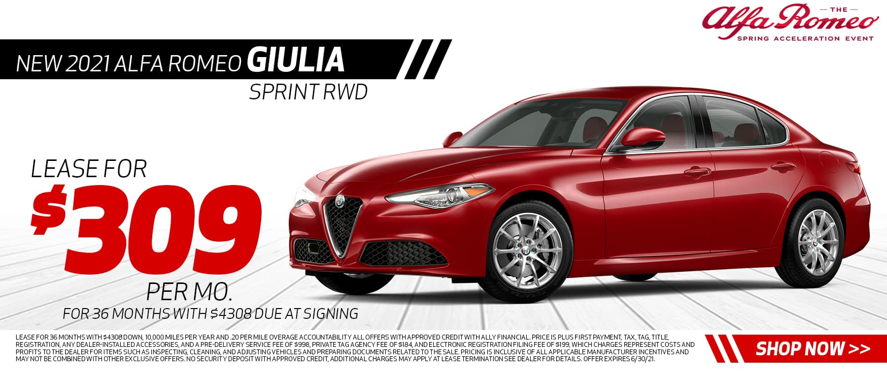 Lease for $309 per month 36 months, $4308 due at signing Disclaimer: Lease for 36 months with $4308 down, 10,000 miles per year and .20 per mile overage accountability All offers with approved credit with ALLY FINANCIAL. Price is plus first payment, tax, tag, title, registration, any dealer-installed accessories, and a pre-delivery service fee of $998, Private Tag Agency Fee of $184, and Electronic Registration Filing Fee of $199, which charges represent costs and profits to the dealer for items such as inspecting, cleaning, and adjusting vehicles and preparing documents related to the sale. Pricing is inclusive of all applicable manufacturer incentives and may not be combined with other exclusive offers. No security deposit with approved credit, additional charges may apply at lease termination See dealer for details. Offer expires 6/30/21.