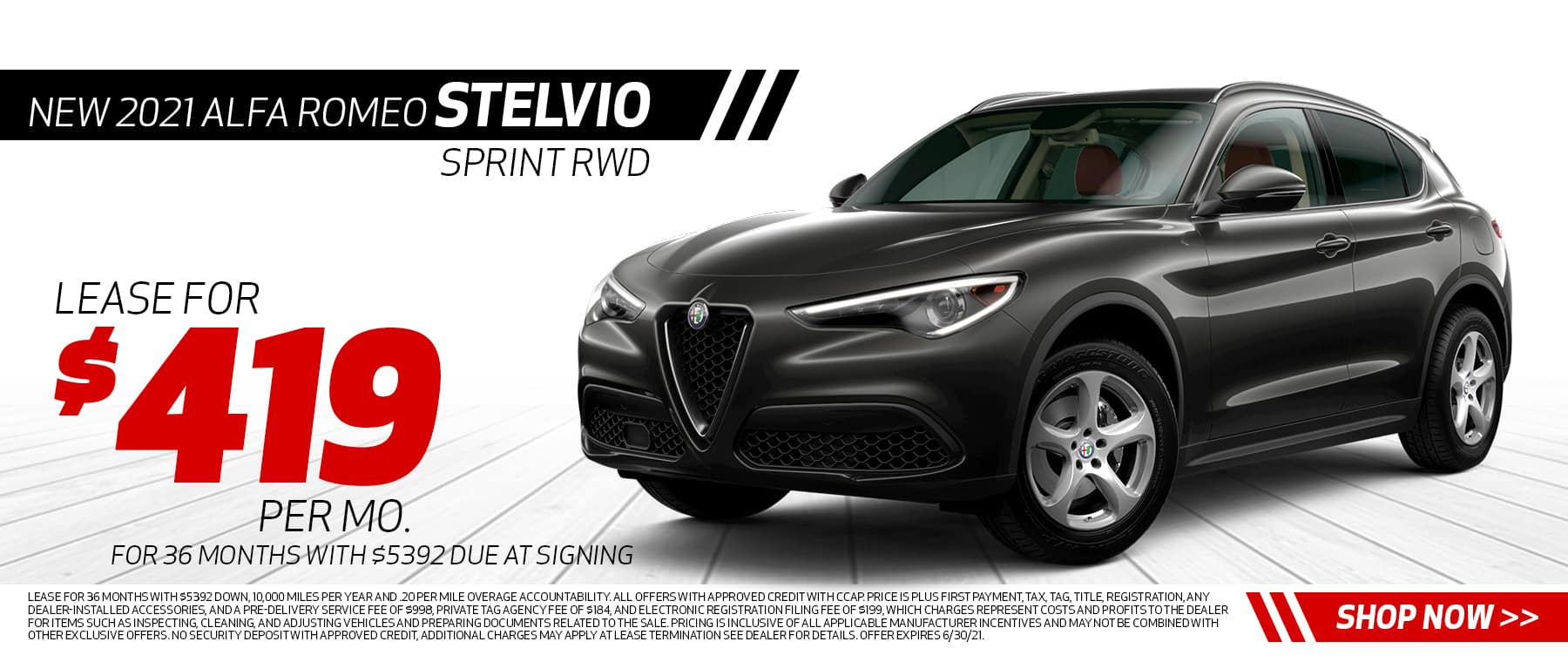 New 2021 Alfa Romeo Stelvio Sprint RWD Lease for $419 per month 36 months, $5392 due at signing Disclaimer: Lease for 36 months with $5392 down, 10,000 miles per year and .20 per mile overage accountability. All offers with approved credit with CCAP. Price is plus first payment, tax, tag, title, registration, any dealer-installed accessories, and a pre-delivery service fee of $998, Private Tag Agency Fee of $184, and Electronic Registration Filing Fee of $199, which charges represent costs and profits to the dealer for items such as inspecting, cleaning, and adjusting vehicles and preparing documents related to the sale. Pricing is inclusive of all applicable manufacturer incentives and may not be combined with other exclusive offers. No security deposit with approved credit, additional charges may apply at lease termination See dealer for details. Offer expires 6/30/21.