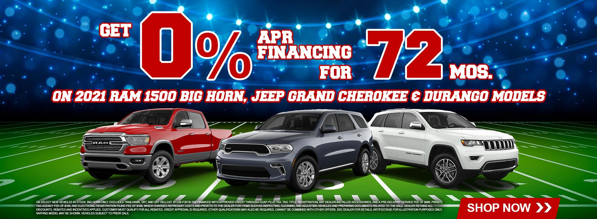 2021 RAM 1500 Big Horn, 2021 Jeep Grand Cherokee and 2021 Durango Models Get 0% APR Financing for 72 Months