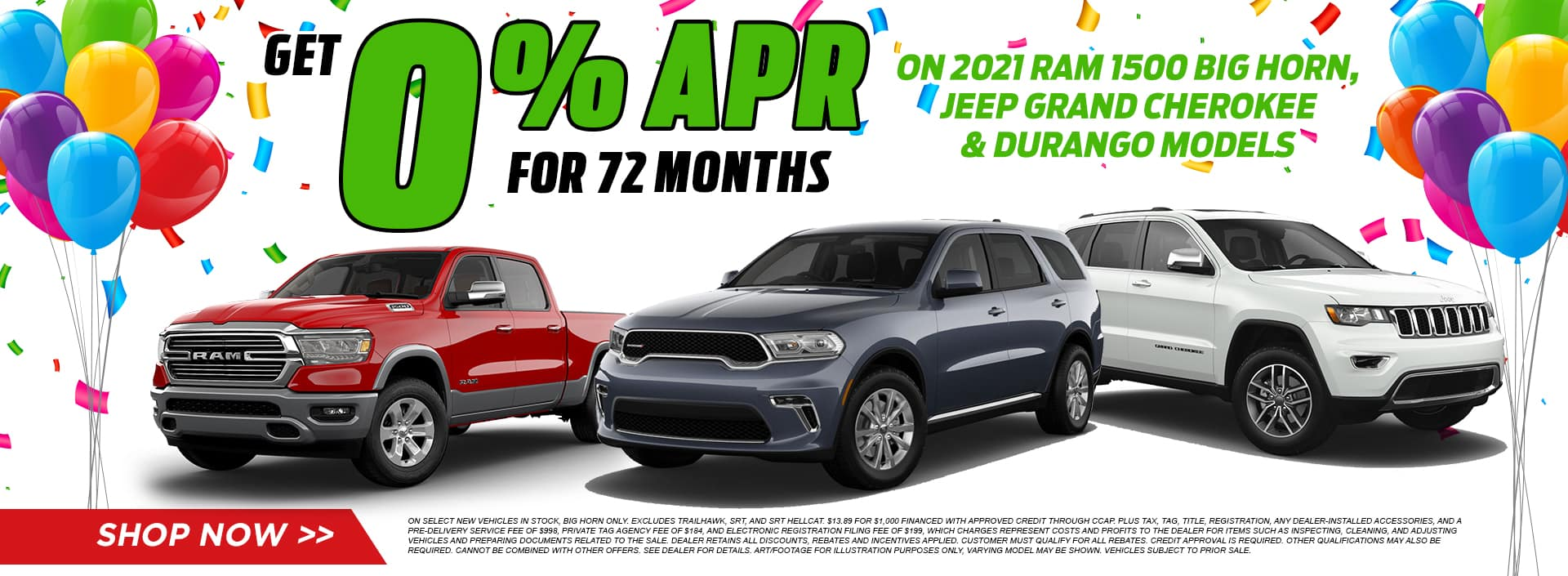 2021 RAM Big Horn, 2021 Jeep Grand Cherokee and 2021 Durango Models Get 0% APR Financing for 72 Months