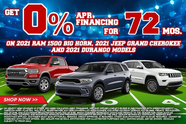 2021 RAM Big Horn, 2021 Jeep Grand Cherokee and 2021 Durango Models