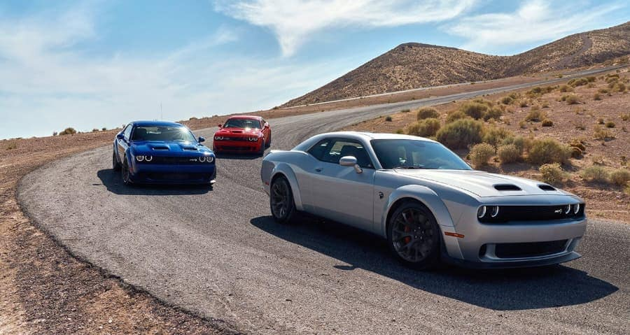 Dodge Challengers on the road