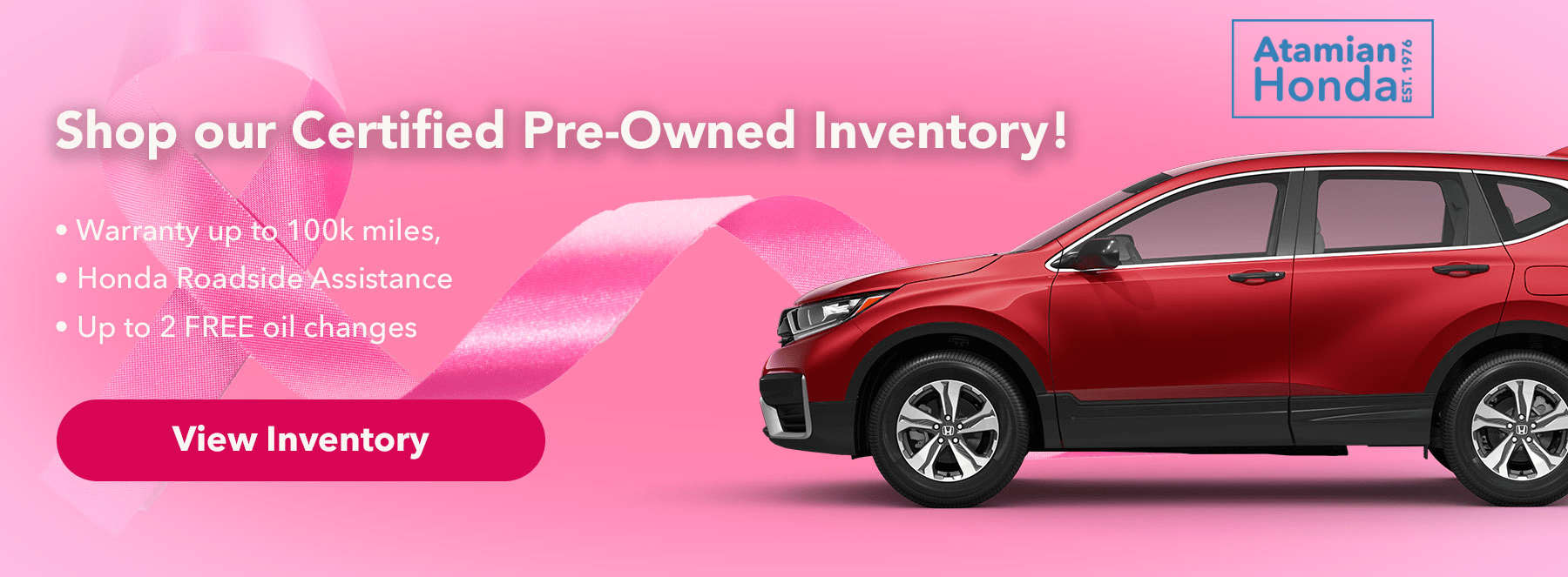 Shop our Certified Pre-Owned Inventory! Subtext: - Warranty up to 100k miles, - Honda Roadside Assistance, - Up to 2 FREE oil changes.