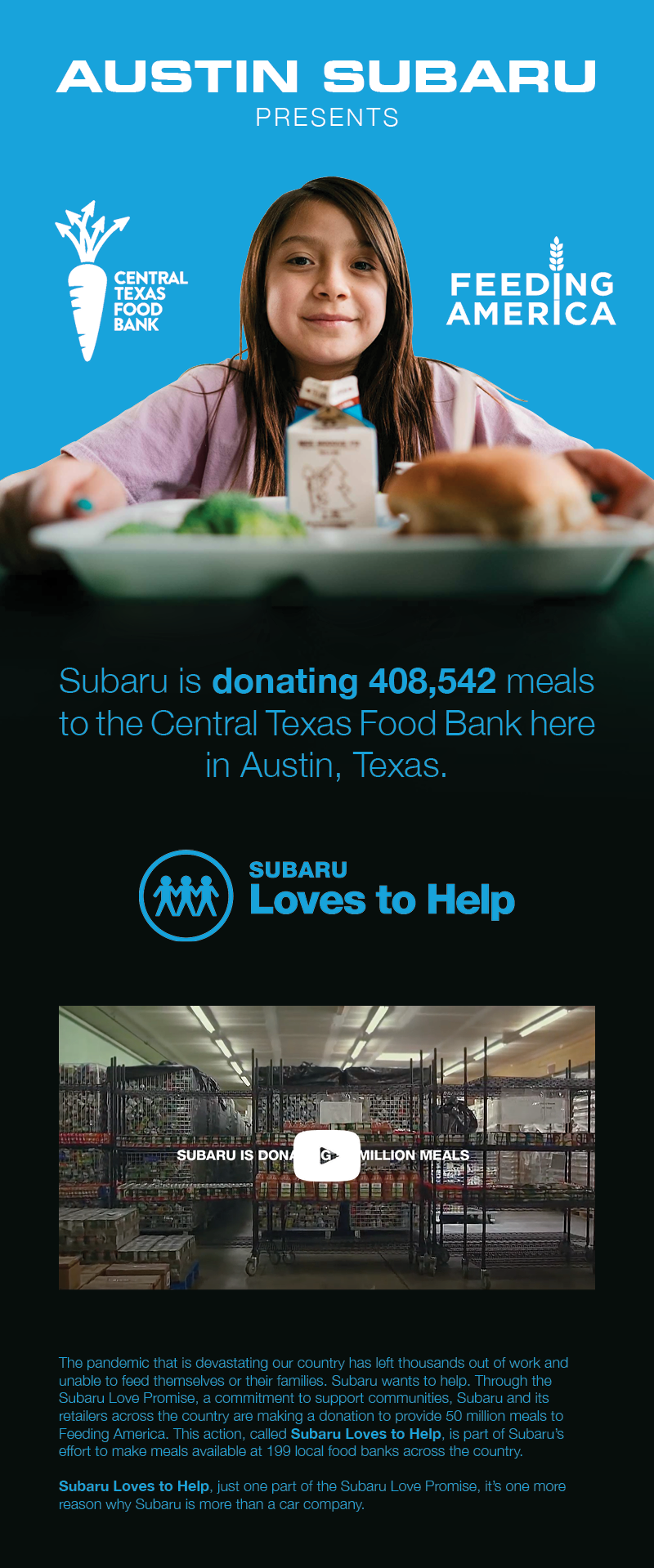 Austin Subaru and Feeding America