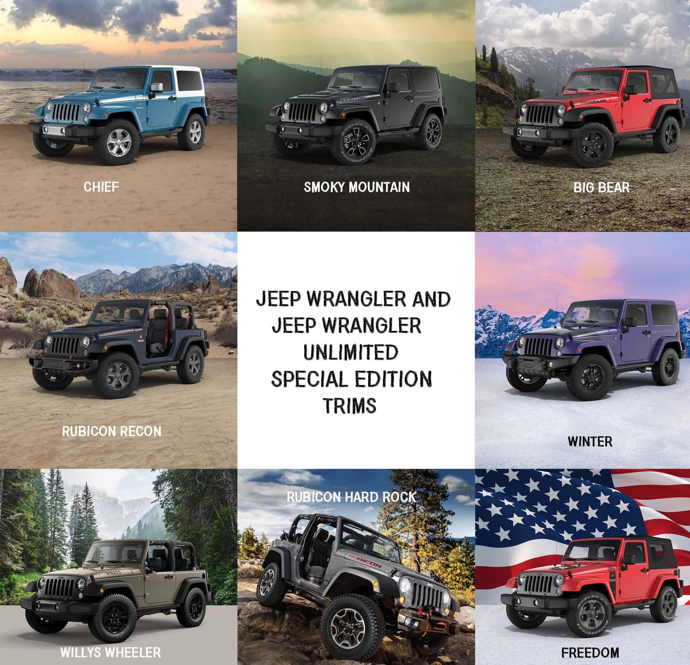 Limited Edition 2017 Jeep Wrangler And Wrangler Unlimited Trims