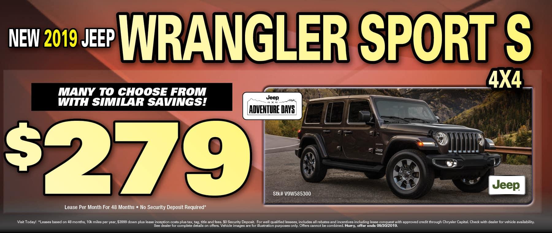 2019 Jeep Wrangler $279