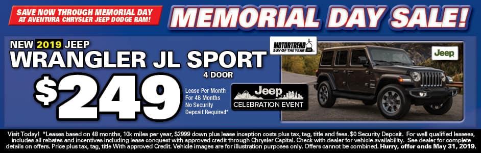 Aventura Jeep Wrangler JL Lease Special!