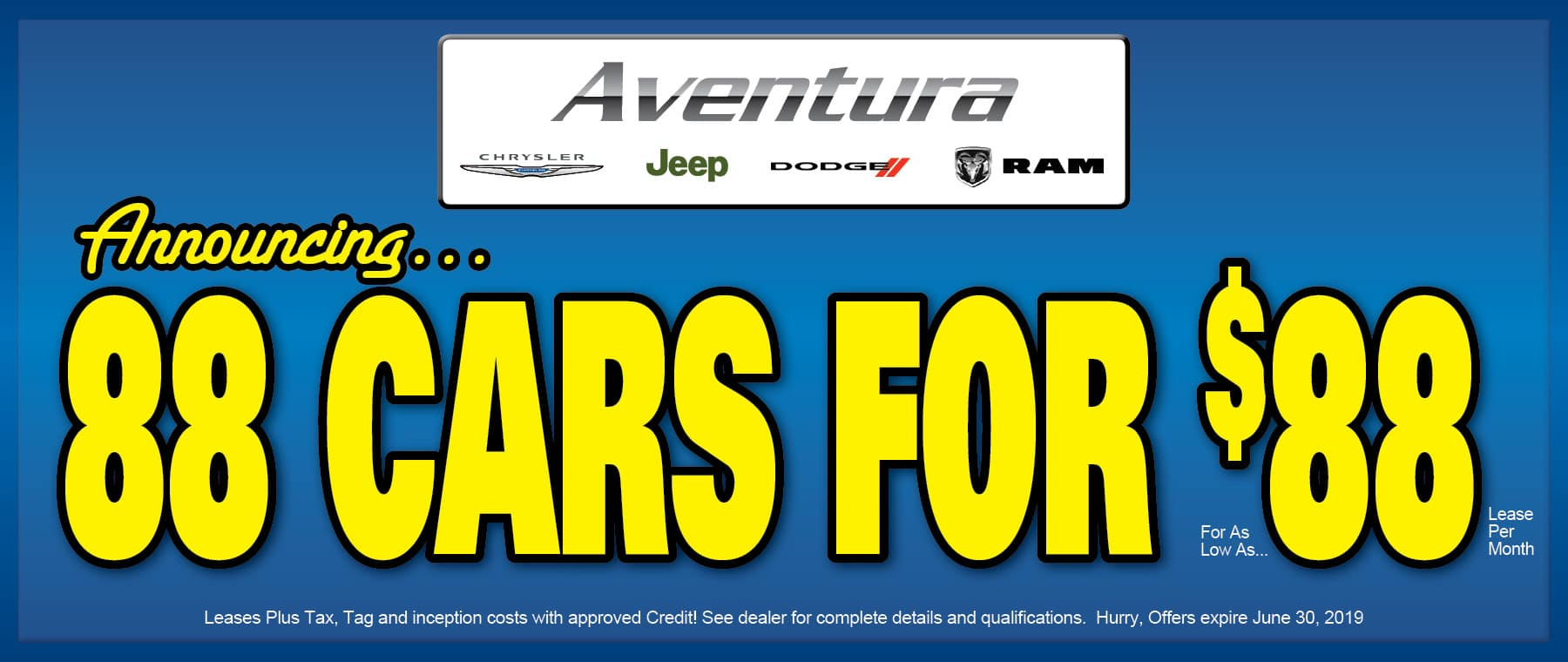 Just Announced! - 88 Cars For $88 Lease Per Month!