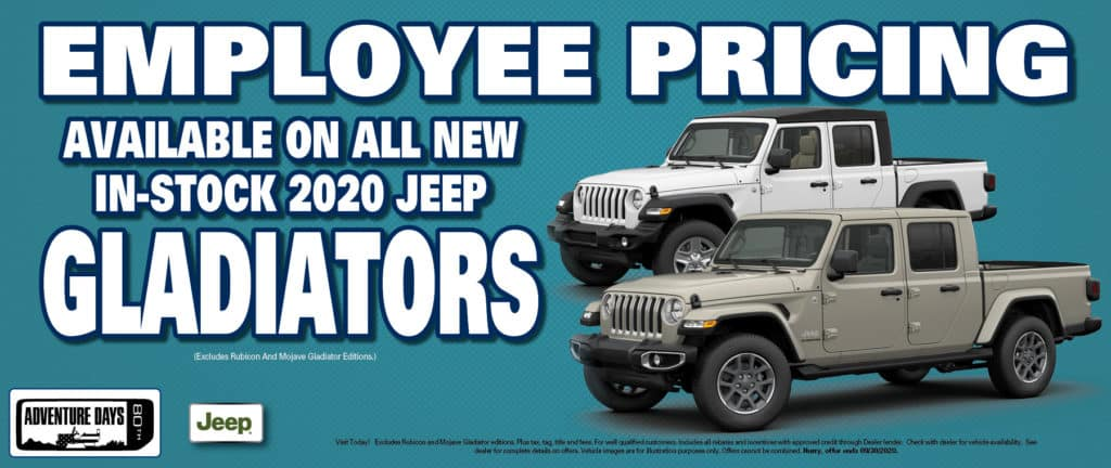 Employee Pricing On New Jeep Gladiators!