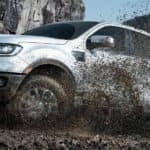The New 2019 Ford Ranger driving through mud