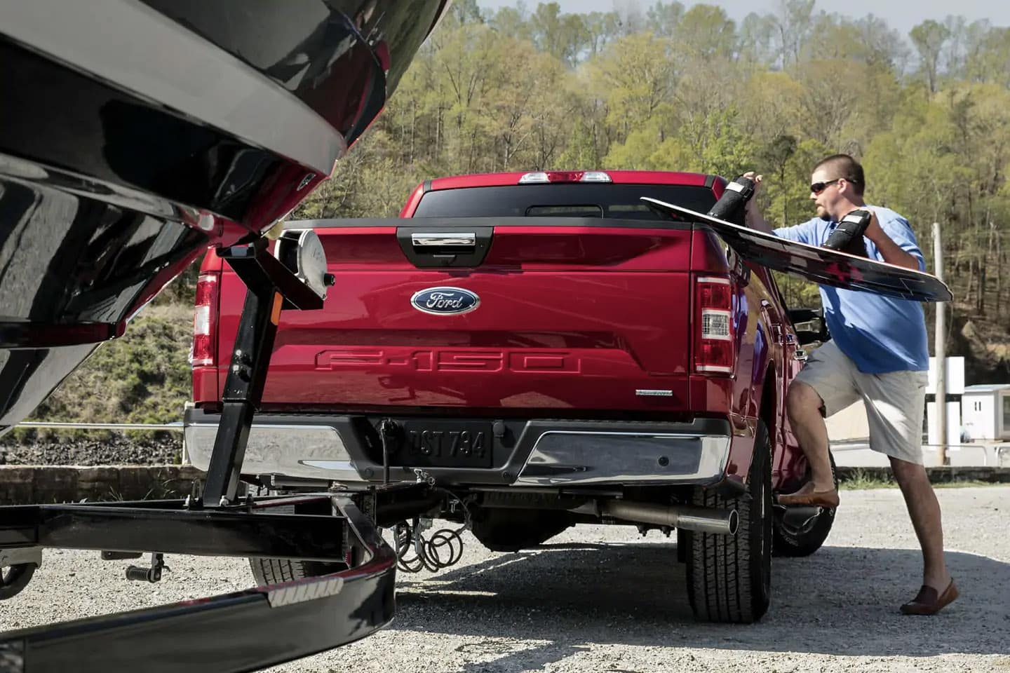 2019 Red Ford F-150 box side steps