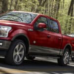 2020 Ford F-150 King Ranch in Rapid Red towing