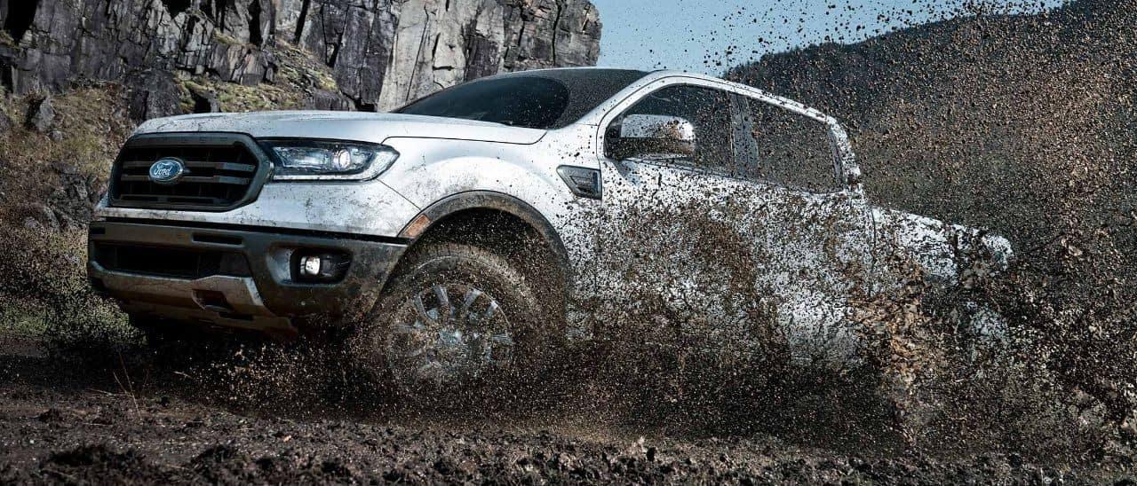 2019 Ford Ranger driving through mud