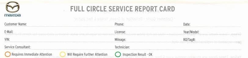 Full Circle Service Report Card