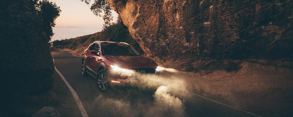 2020 Mazda CX-30 driving under cliff
