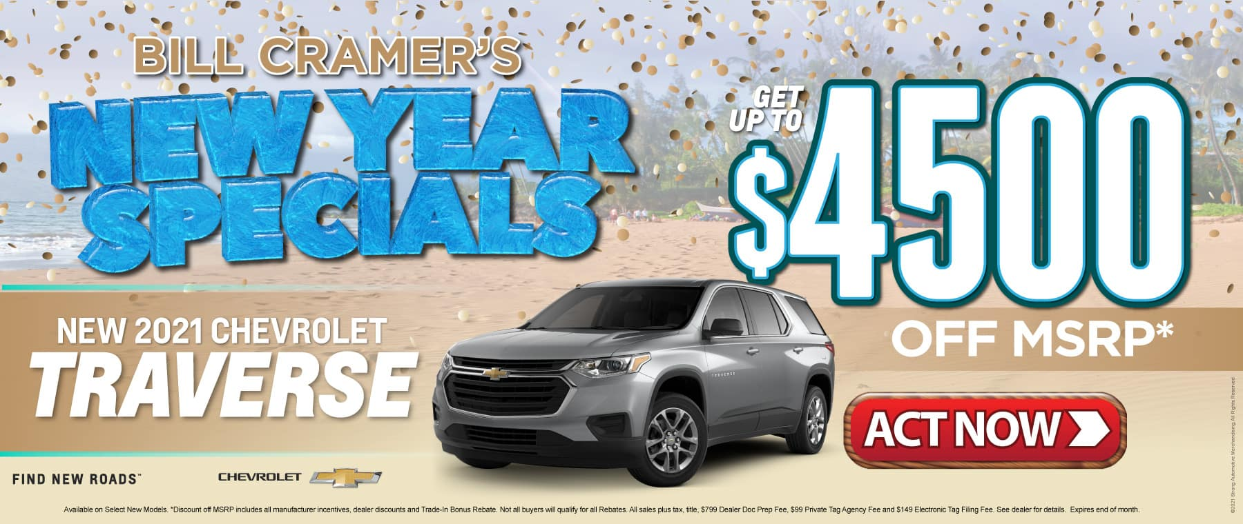 New 2021 Chevy Traverse - Get up to $4500 off msrp - Act Now