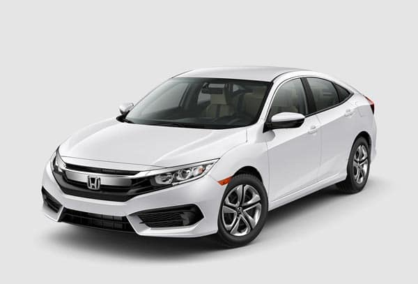 Flat White 2018 Honda Civic Sedan at an angle
