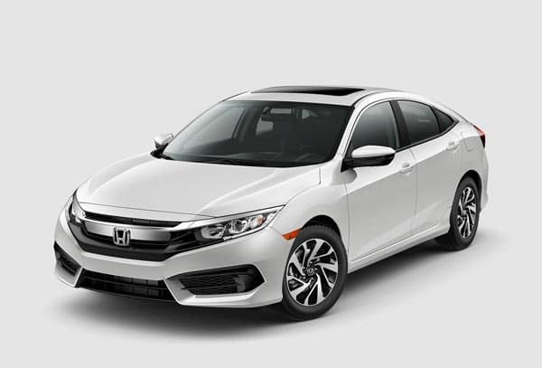 Gloss White 2018 Honda Civic Sedan at an angle