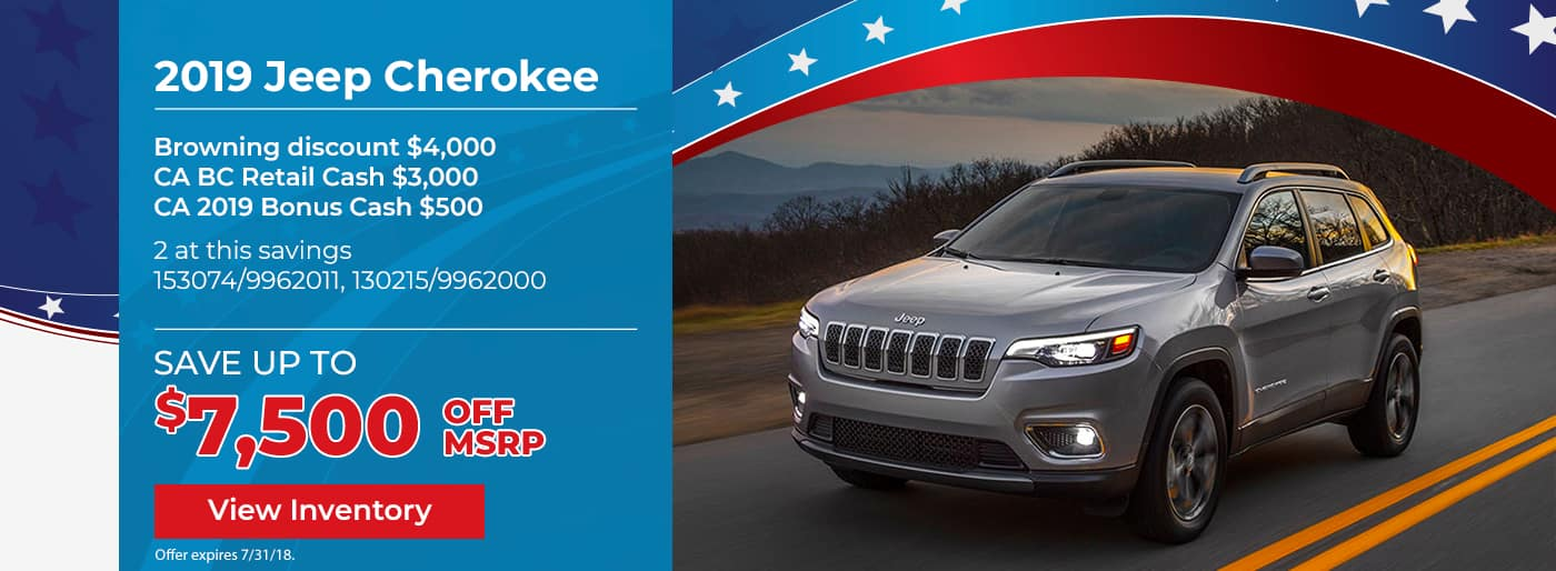 Save up to $7500 on the New 2019 Jeep Cherokee