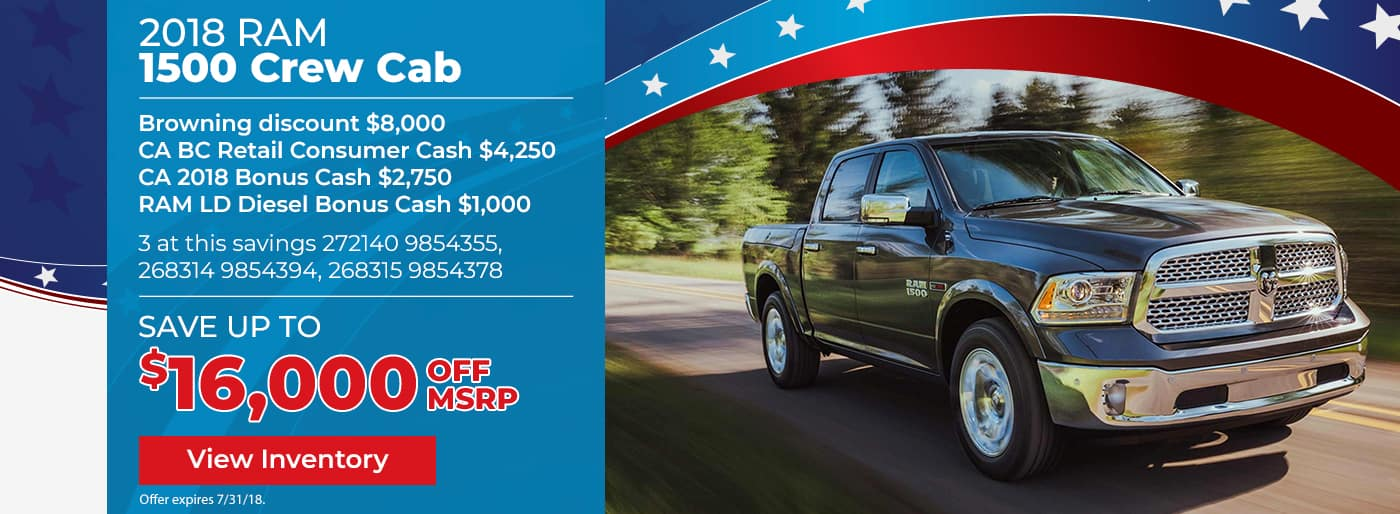 Save up to $16,000 off the New 2018 Ram 1500 Crew Cab
