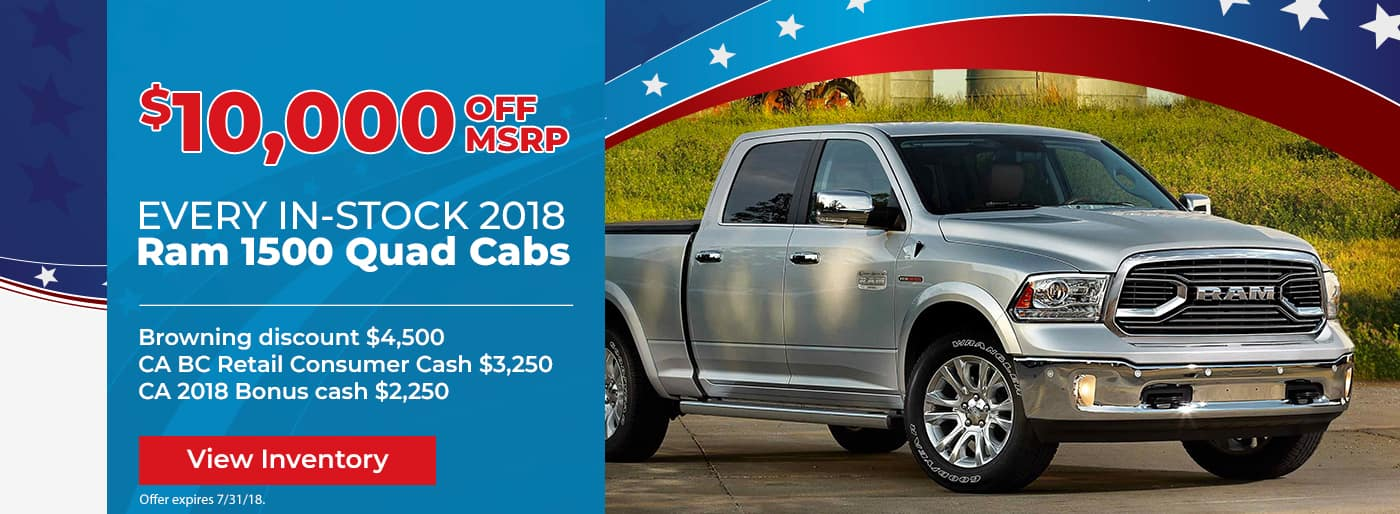 $10,000 off all in-stock New 2018 Ram 1500 Quad Cabs