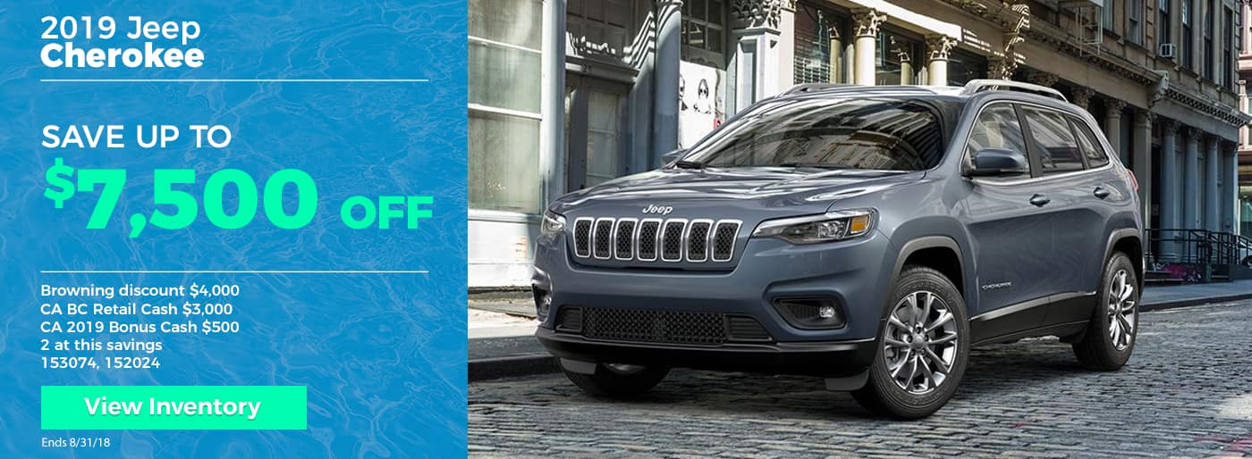 Save up to $7500 on 2019 Jeep Cherokee