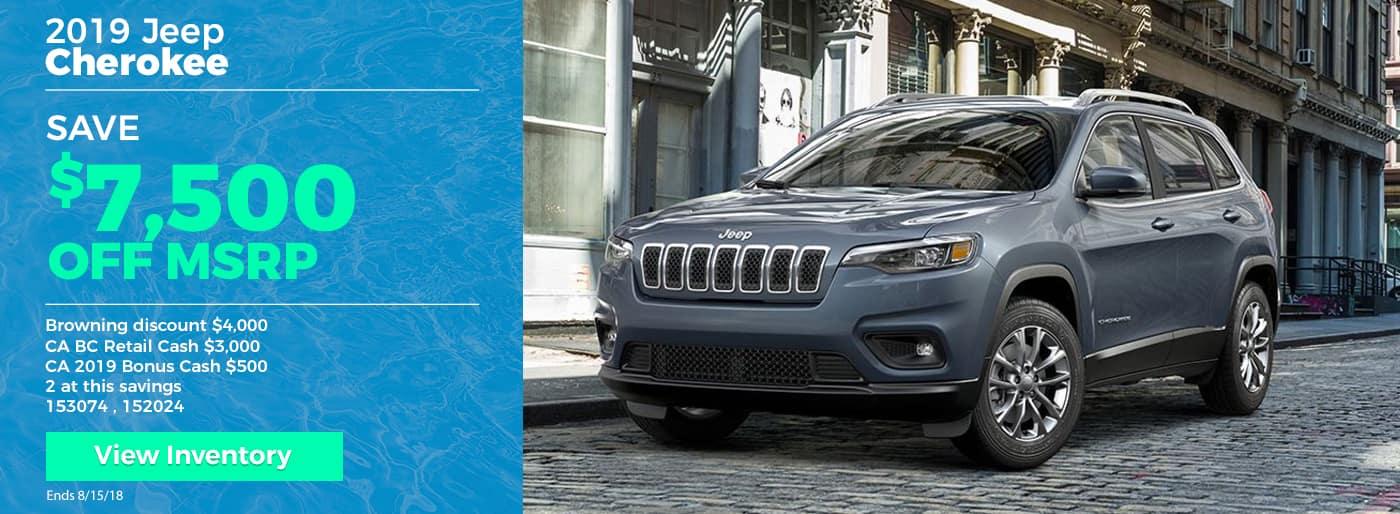 Save $7500 on 2019 Jeep Cherokee