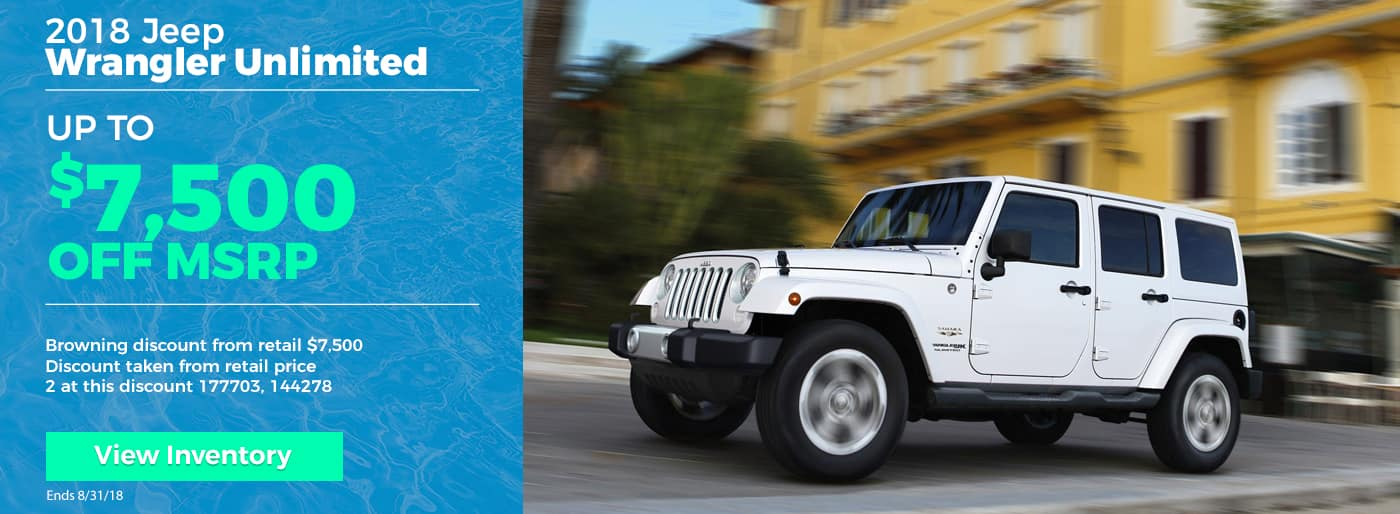 Save up to $7500 on 2018 Jeep Wrangler Unlimited