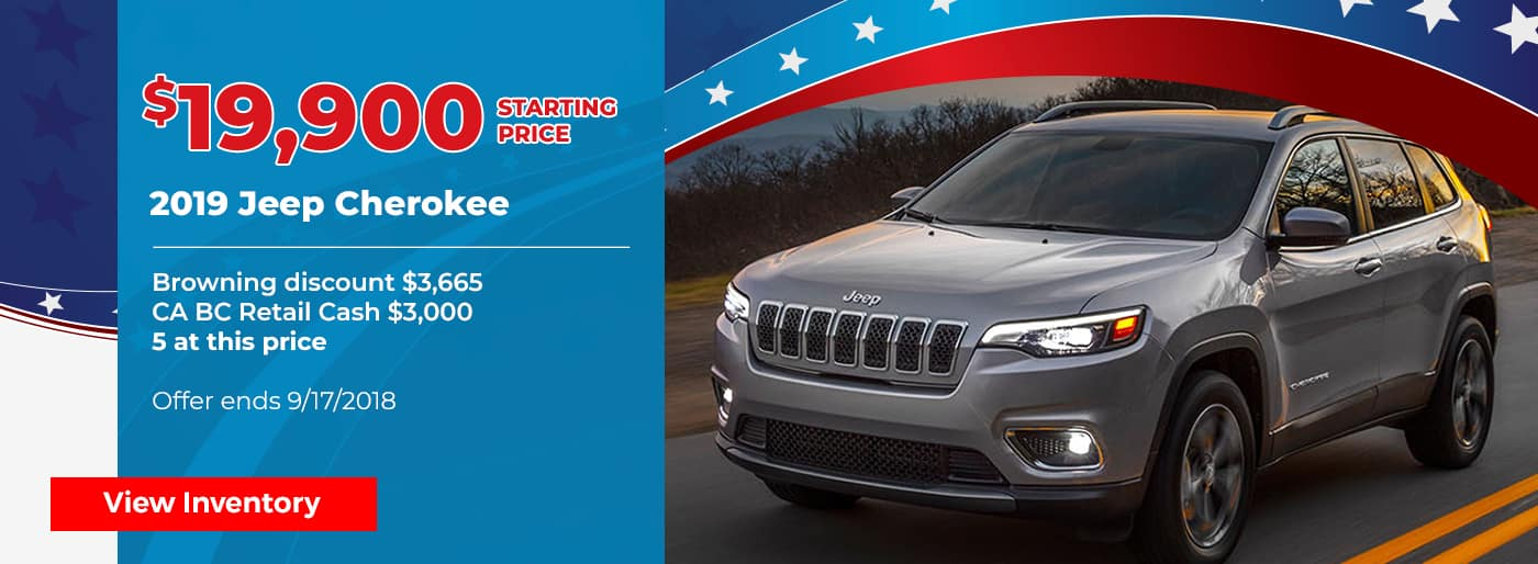 2019 Jeep Cherokee for $19,900