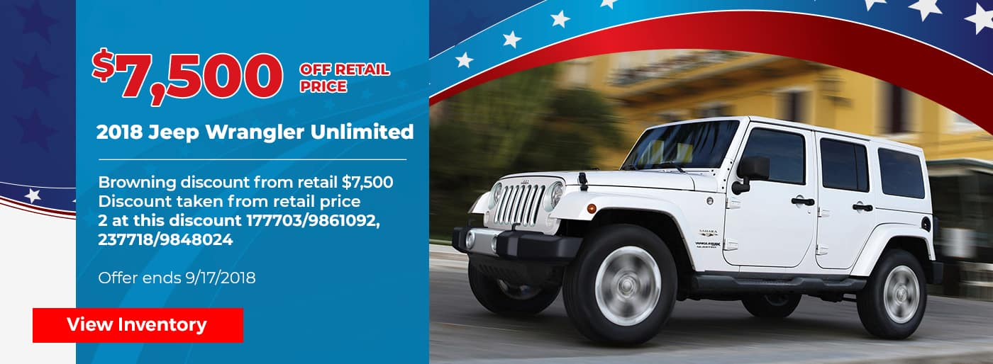 $7500 off Jeep Wrangler Unlimited