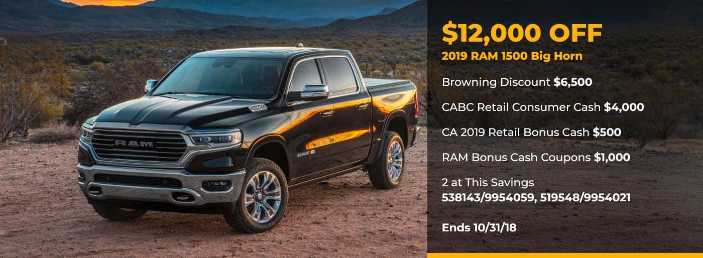 $12,00 off 2019 Ram 1500 Big Horn