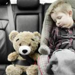 Child asleep in car seat next to teddy bear