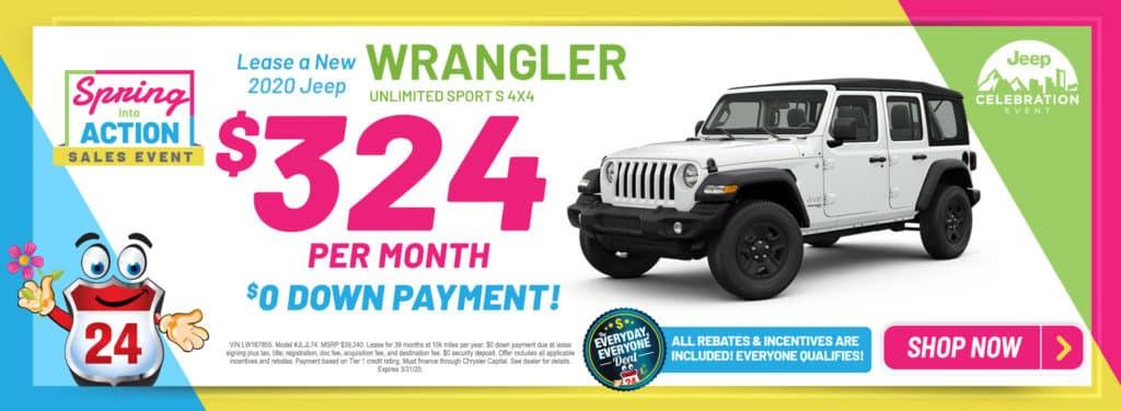 New 2020 Jeep Wrangler Unlimited Sport S 4x4