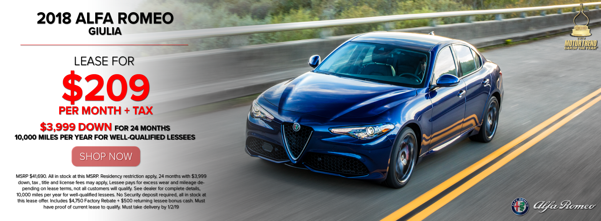 Alfa Romeo Lease >> Alfa Romeo Lease Deals Specials On New Vehicles Near Me In
