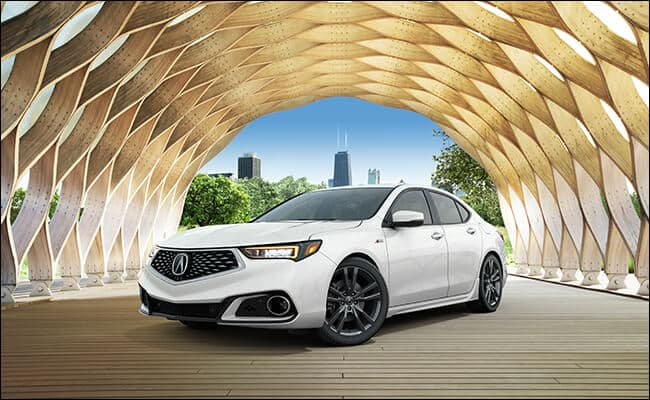 White 2018 Acura TLX under beehive arch statue in Lincoln Park Chicago