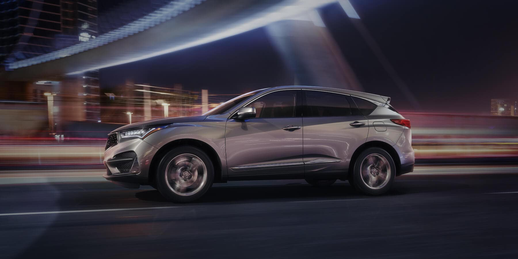 2020 Acura RDX Lunar Silver Metallic Side Profile Night