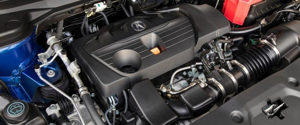 Close on 2020 Acura RDX A-SPEC engine inside crossover with hood open