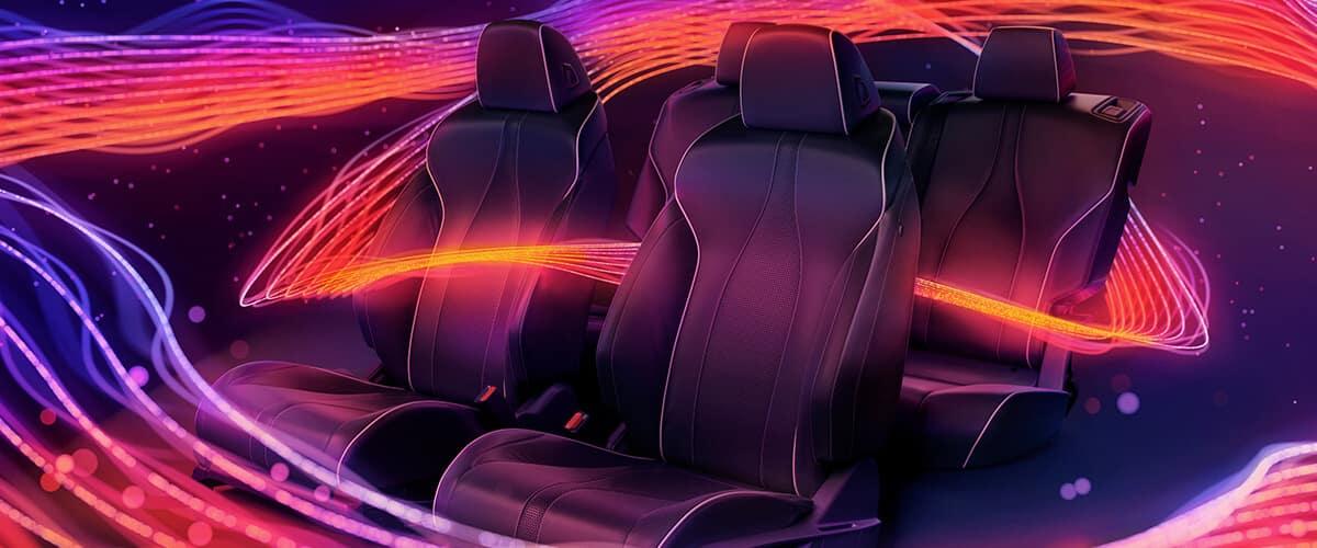 Warm colors surrounding Acura seats to portray ELS STUDIO® Premium Audio System experience