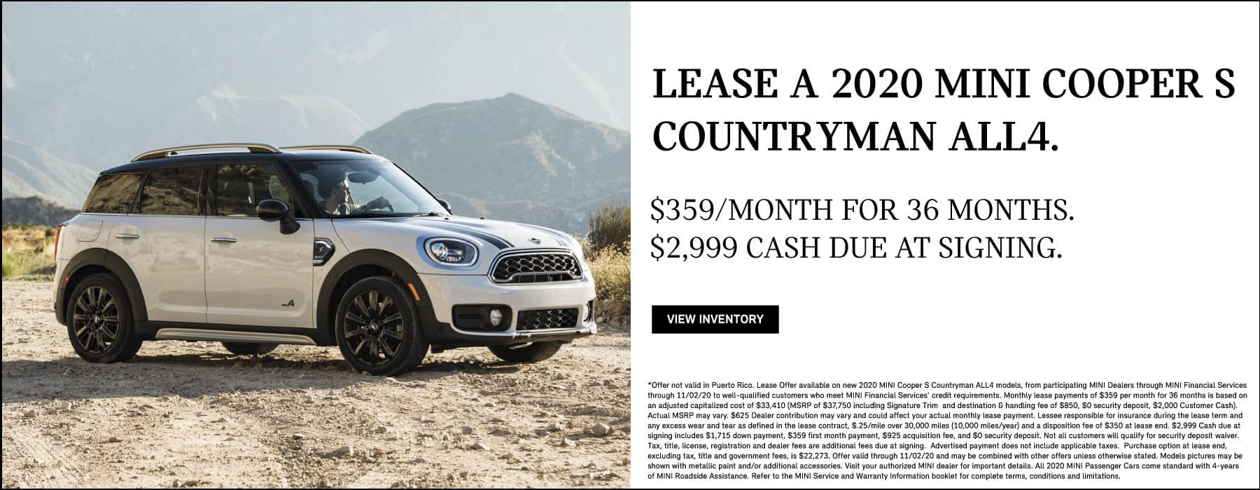 Lease a 2020 MINI Cooper S Countryman ALL4 for $359/mo. View Inventory