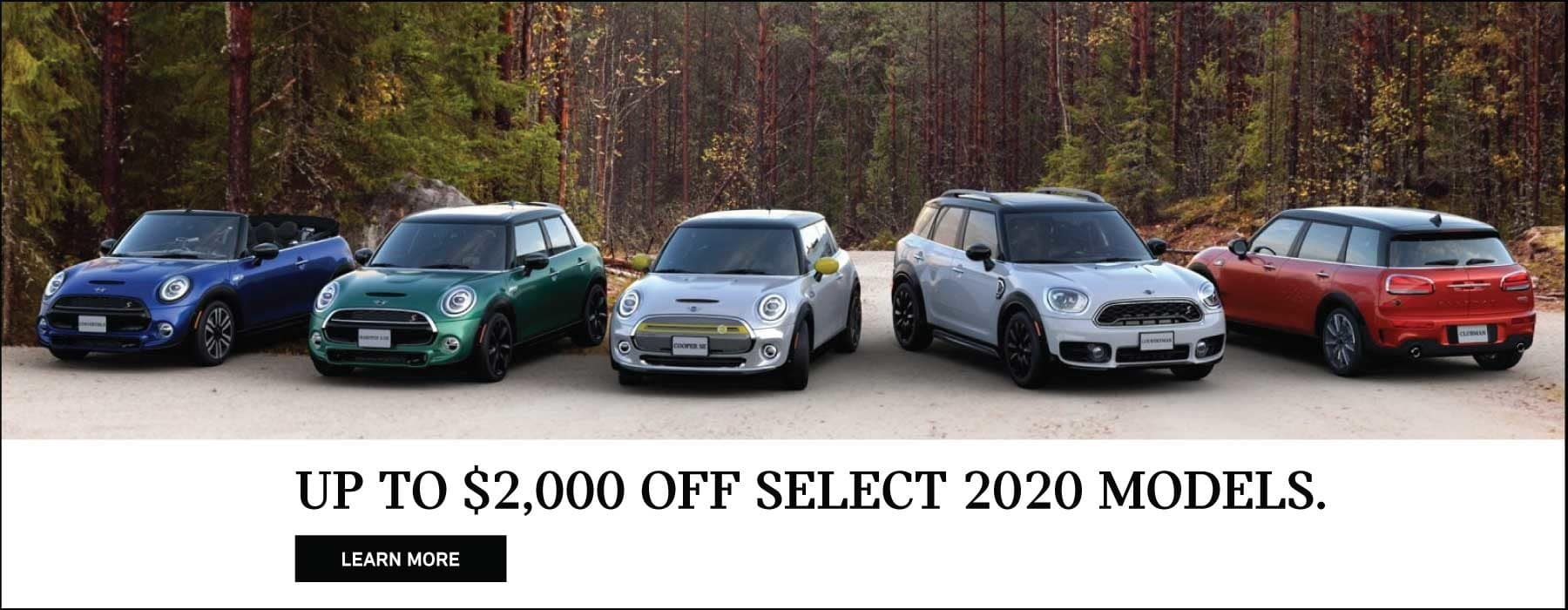 Up to $2,000 off select mini models. MINI Family Parked in forest.