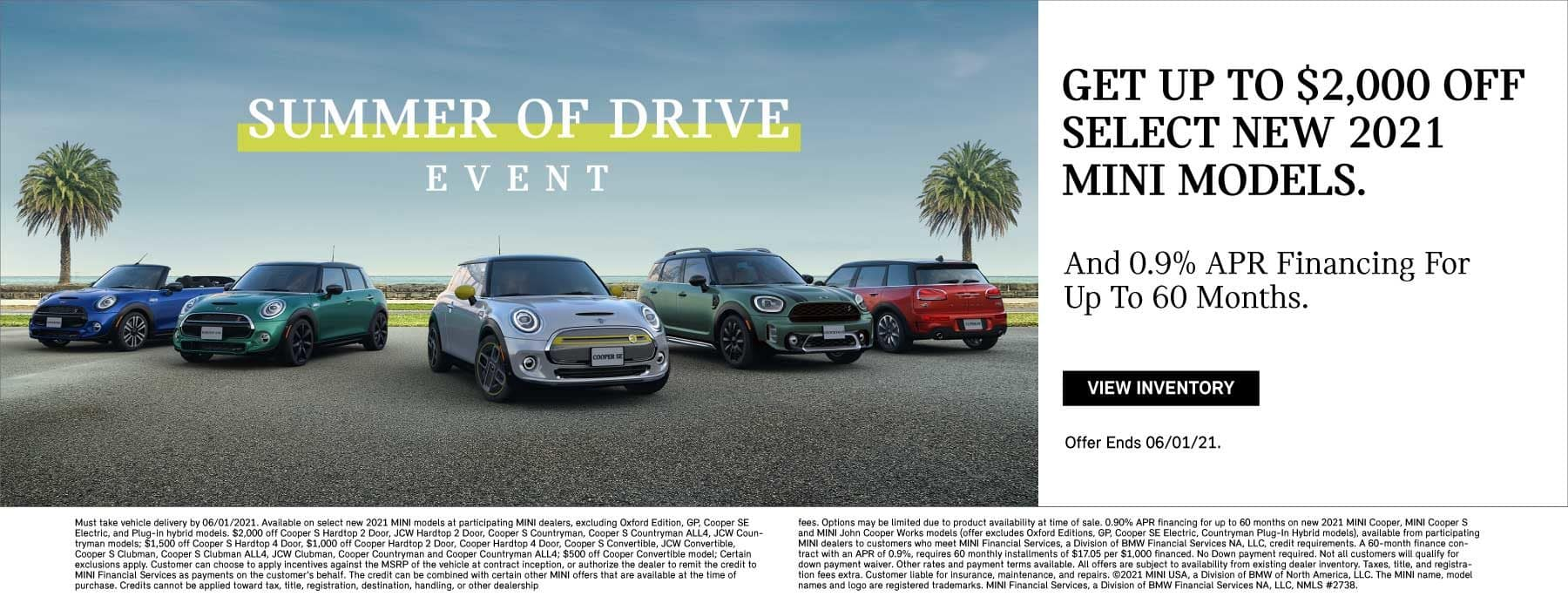 Get up to $2,000 select 2021 MINI models