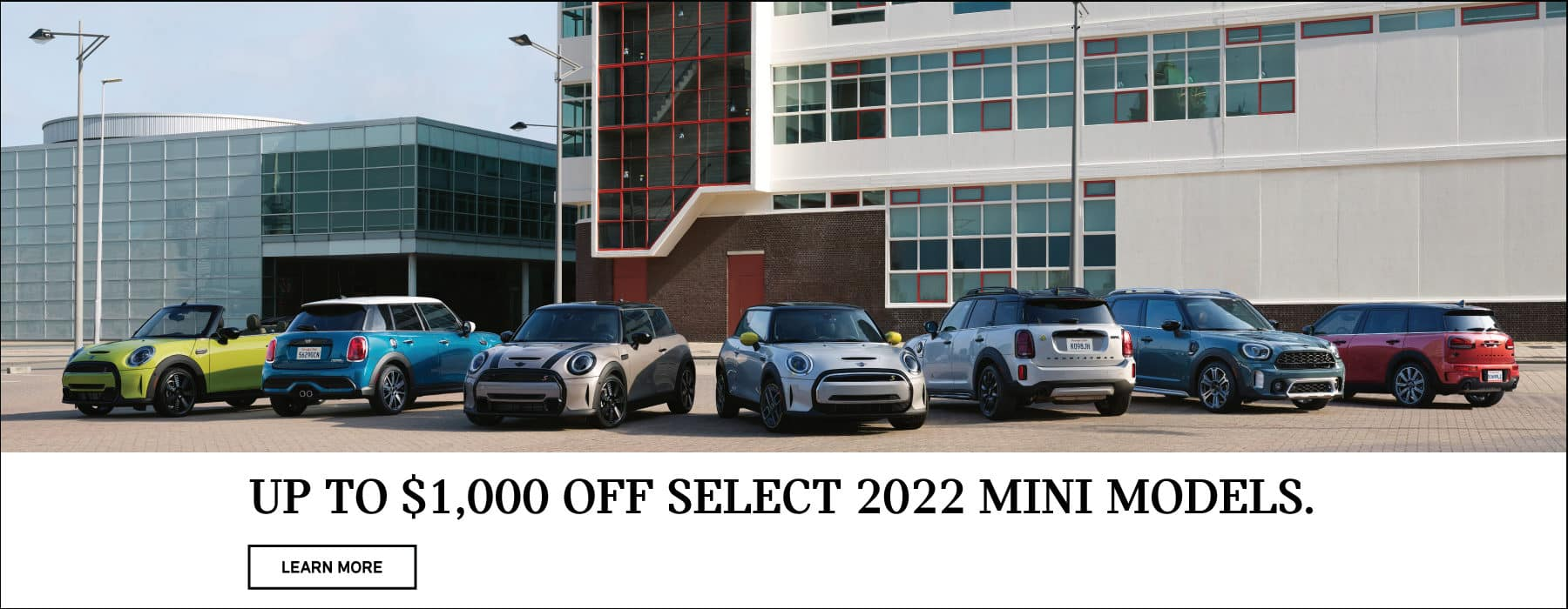 Get up to $1,000 off select 2022 MINI models.