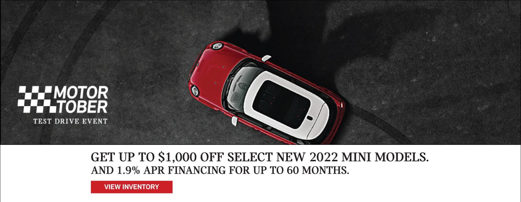 Get up tp $1,000 off select 2022 MINI models.