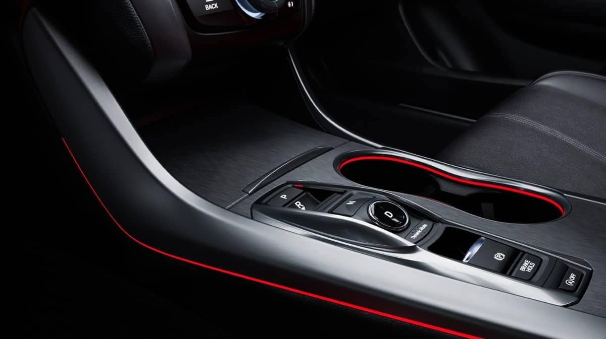 red accent lighting on center console of 2019 Acura TLX