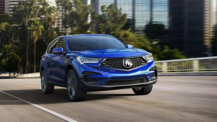 Blue 2019 Acura RDX on street