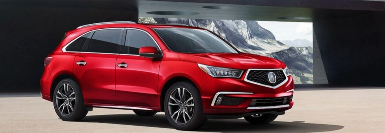 2020 acura mdx parked near the mountains