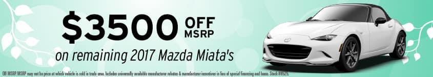 $3500 off MSRP on 2017 Mazda Miata Banner